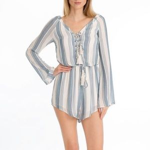 Olivaceous Noah Striped Romper Blue Small